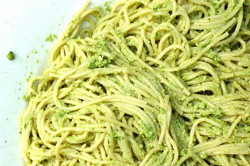 Pasta with garlic scape pesto by Eve Fox, Garden of Eating blog, copyright 2012
