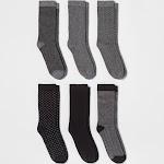 Women's Multipattern 6pk Crew Socks - A New Day Black One size, Women's