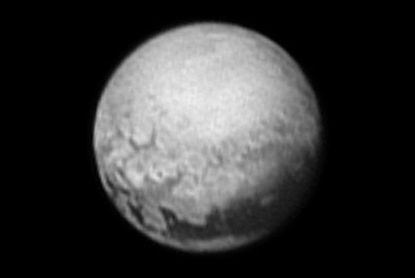 An image of Pluto that was taken by NASA's New Horizons spacecraft from a distance of 3.3 million miles (5.4 million kilometers) on July 9, 2015.