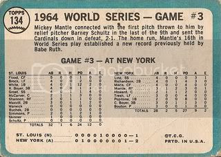 #134 World Series Game 3: Mantle's Clutch HR (back)