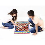 Dimple 2 Player Jumbo Checkers Mat/Board with Big Black & White Checker Pieces