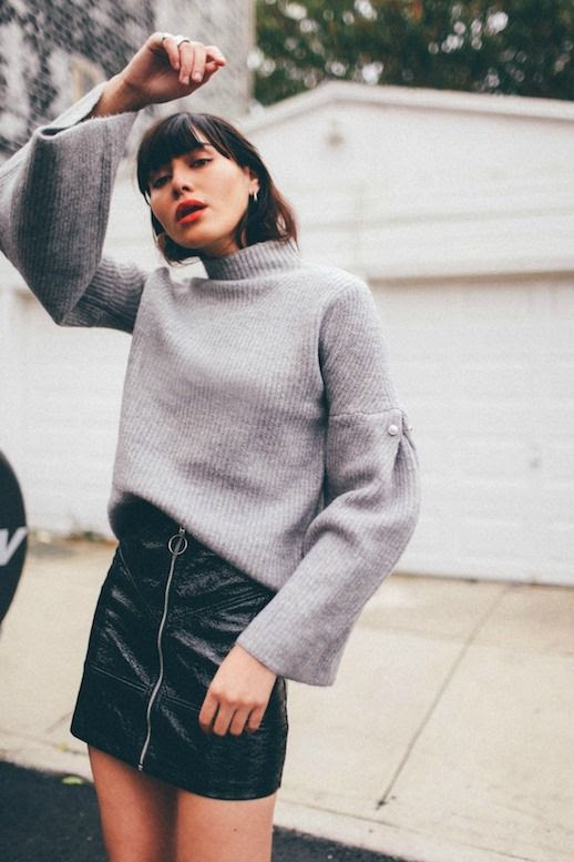 Le Fashion Blog 9 Skirts To Wear With Tights This Season Leather Mini Skirt Via Natalie Off Duty