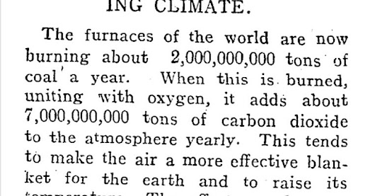 News Coverage of Coal's Link to Global Warming, in 1912