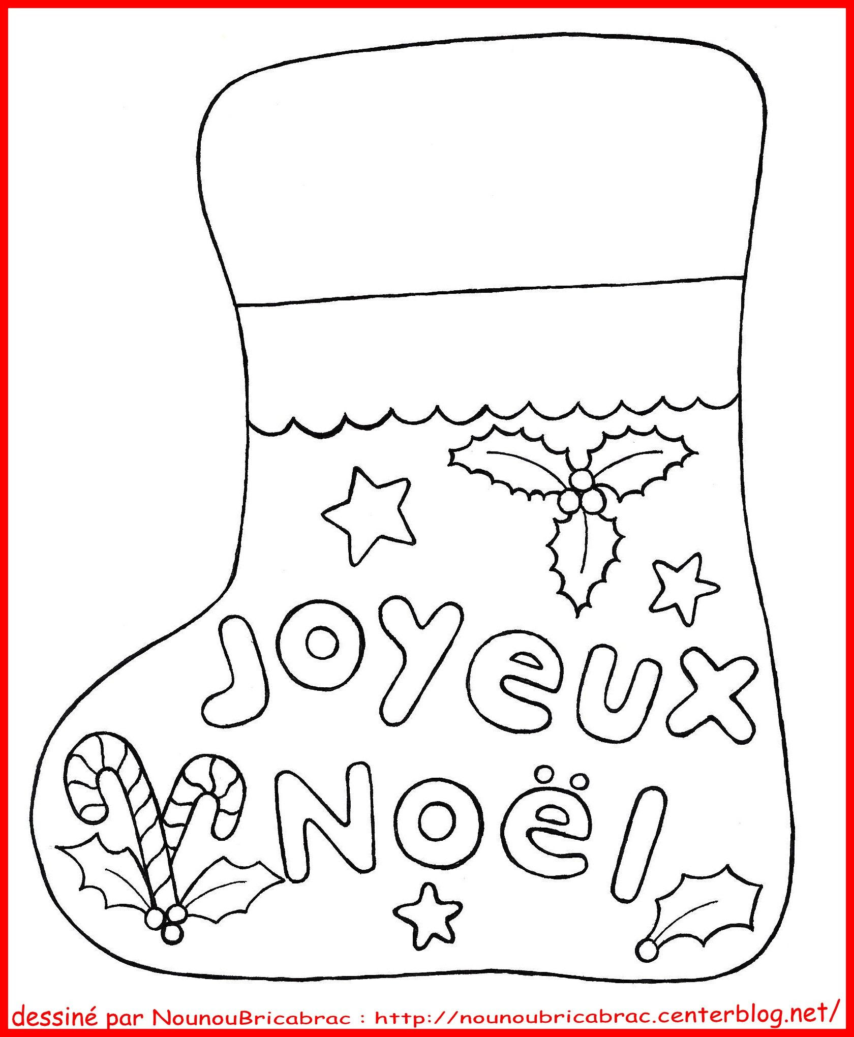 Botte de No l Joyeux No l   colorier