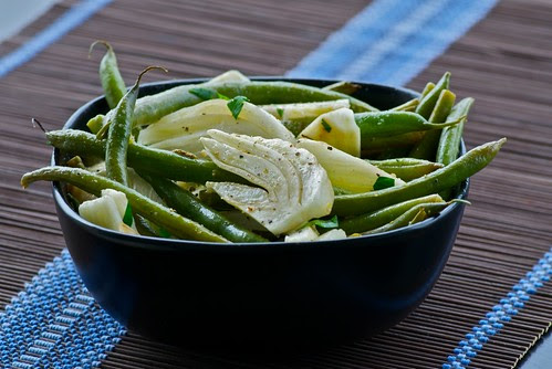 Lemony Roasted Fennel and String Beans