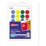 """Printable Removable Color-Coding Labels, 3/4"""" dia, Assorted, 1008/Pack"""