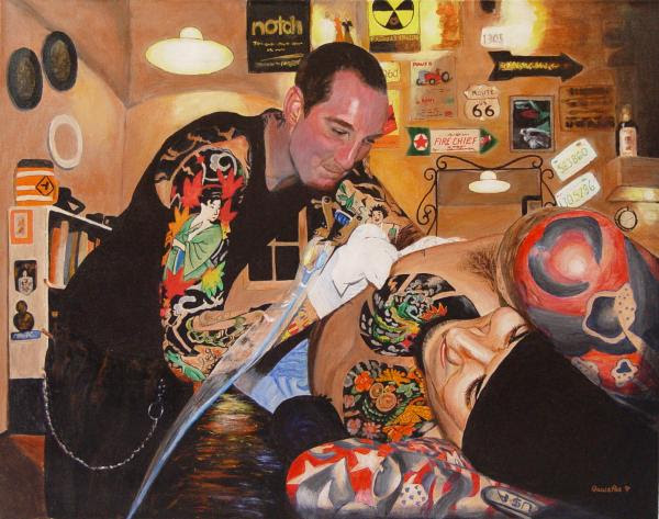 Tattoo Artist Painting - Tattoo Artist Fine Art Print