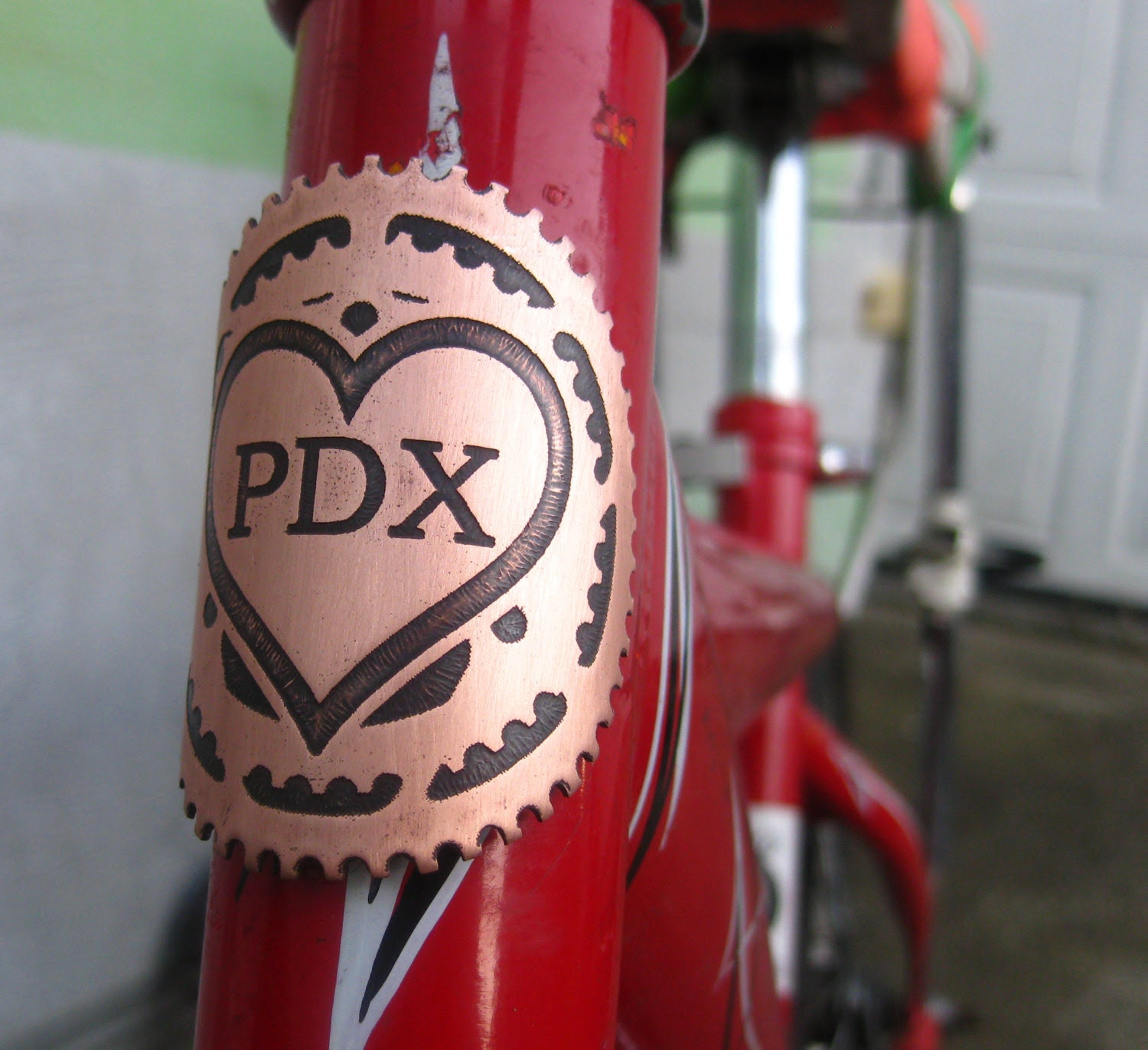 PDX Love - bicycle head badge, Portlandia, Portland, Oregon, Heart, bicycle gear, Etched copper, bicycle accessories