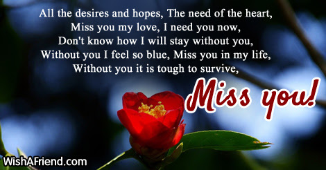 All The Desires And Hopes The Need Missing You Message