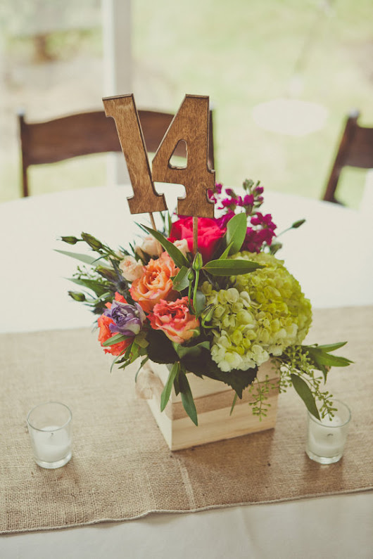 Rustic Wedding Centerpieces with Flowers, Table Numbers