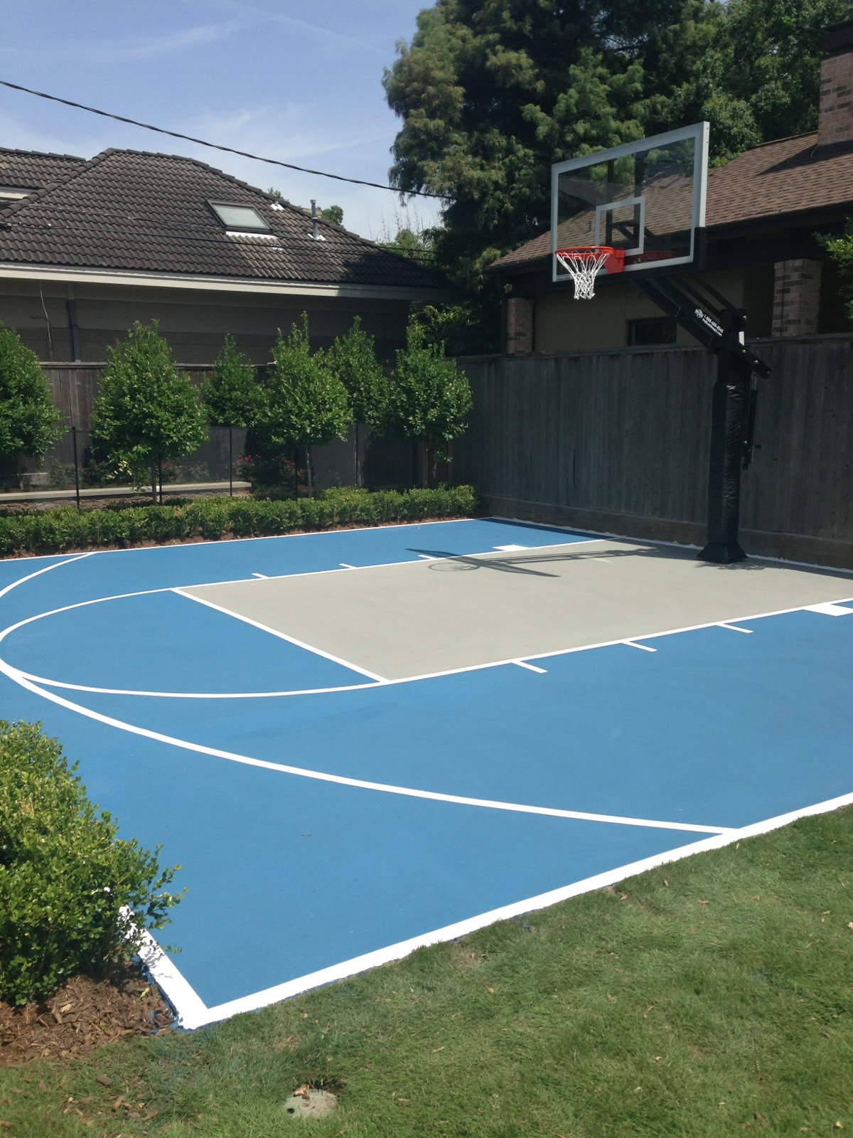 This Pro Dunk Platinum Basketball Goal Sits Over A Painted Blue And