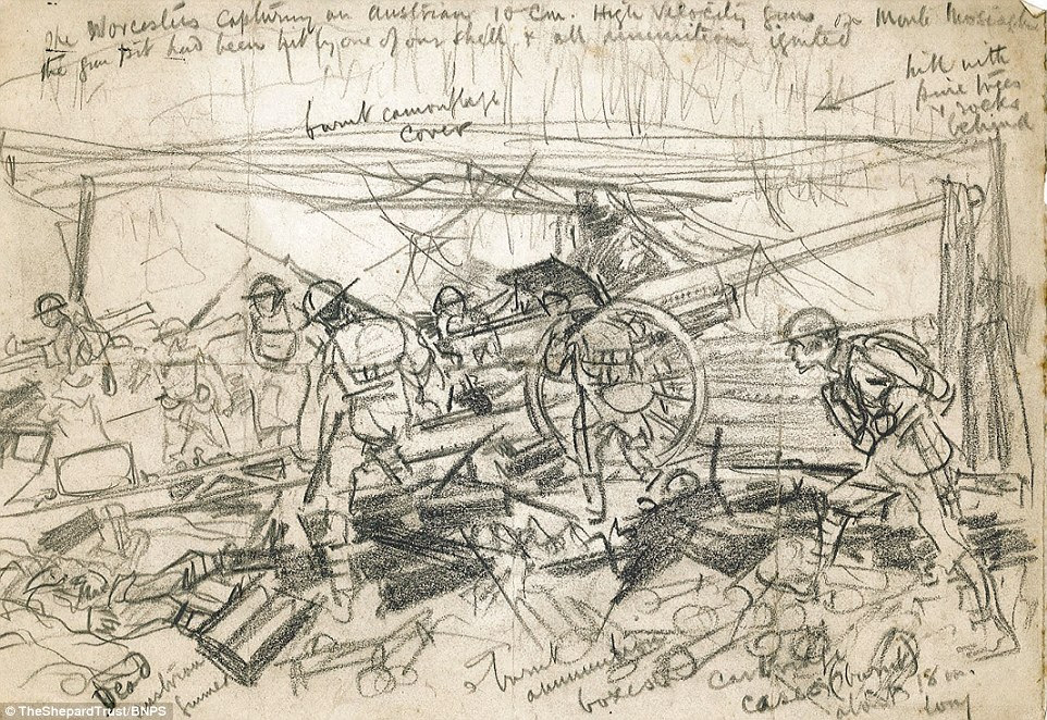 Sketches: Many of the images are hastily-drawn, such as this battlefield sketch showing British soldiers overwhelming an Austrian gun emplacement at Monte Mosiagh