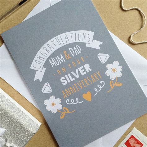 personalised silver wedding anniversary card by ello