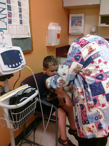 Isaac getting checked at West End KP