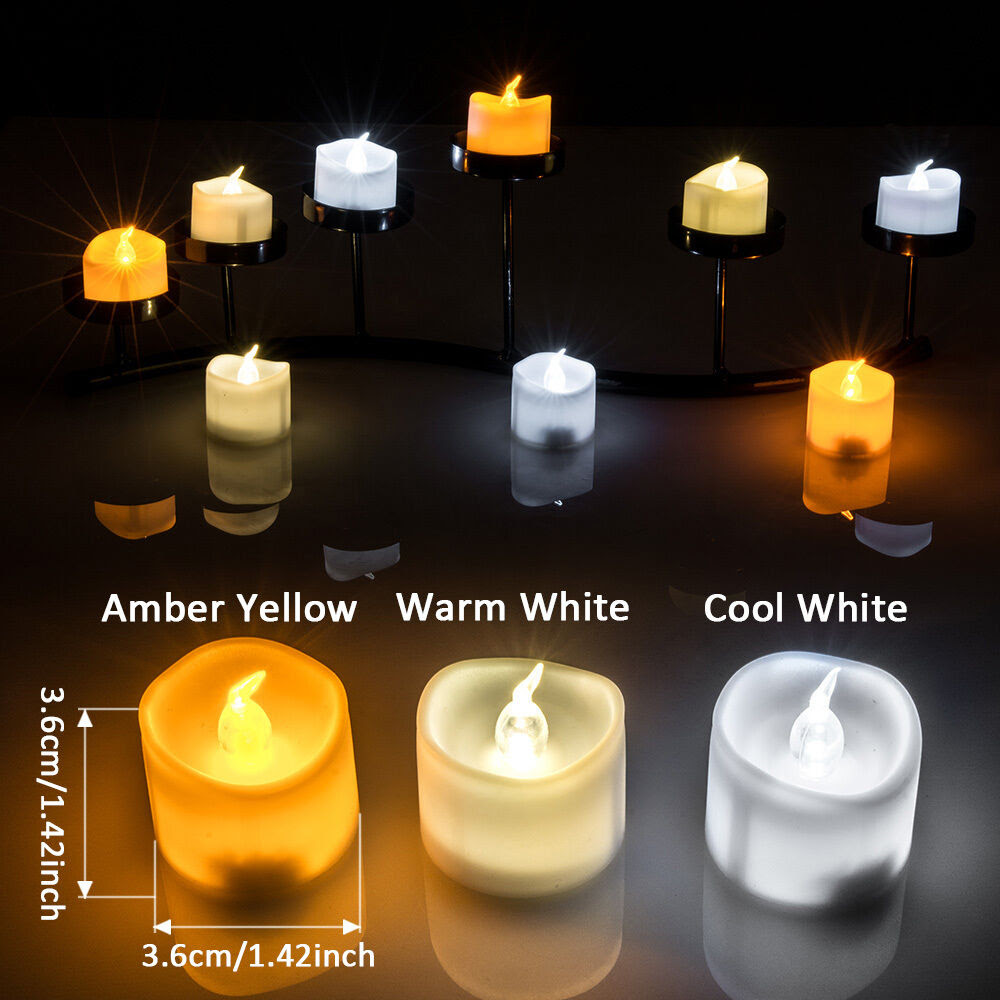 6-60pcs Battery Operated Flameless Flickering Tealights ...