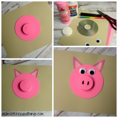 Recycled CD Piggy Craft for Kids