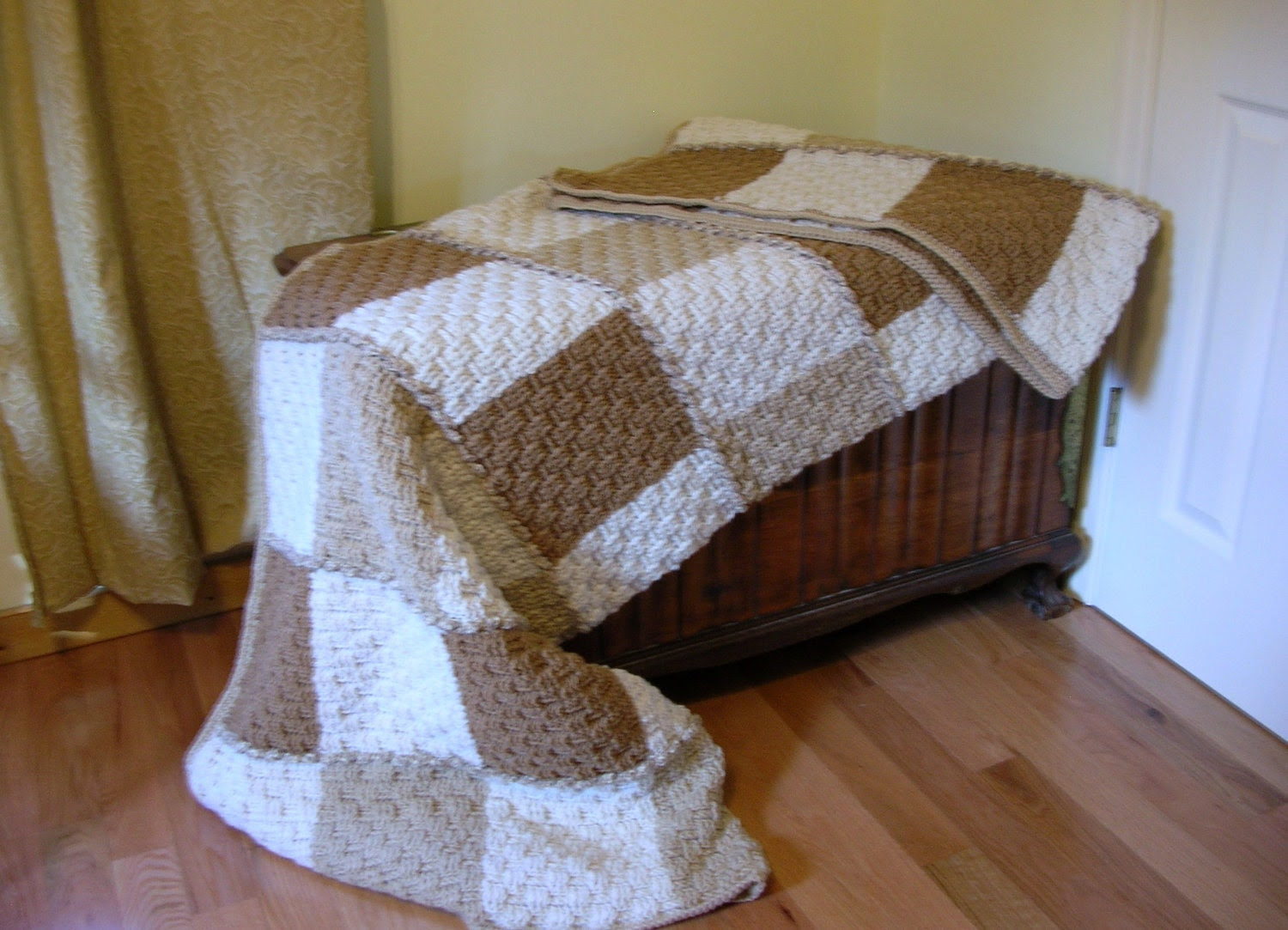 Crochet Afghan Neutral Colors  Basketweave Stitch Large and Cozy Handmade Littlestsister - LittlestSister