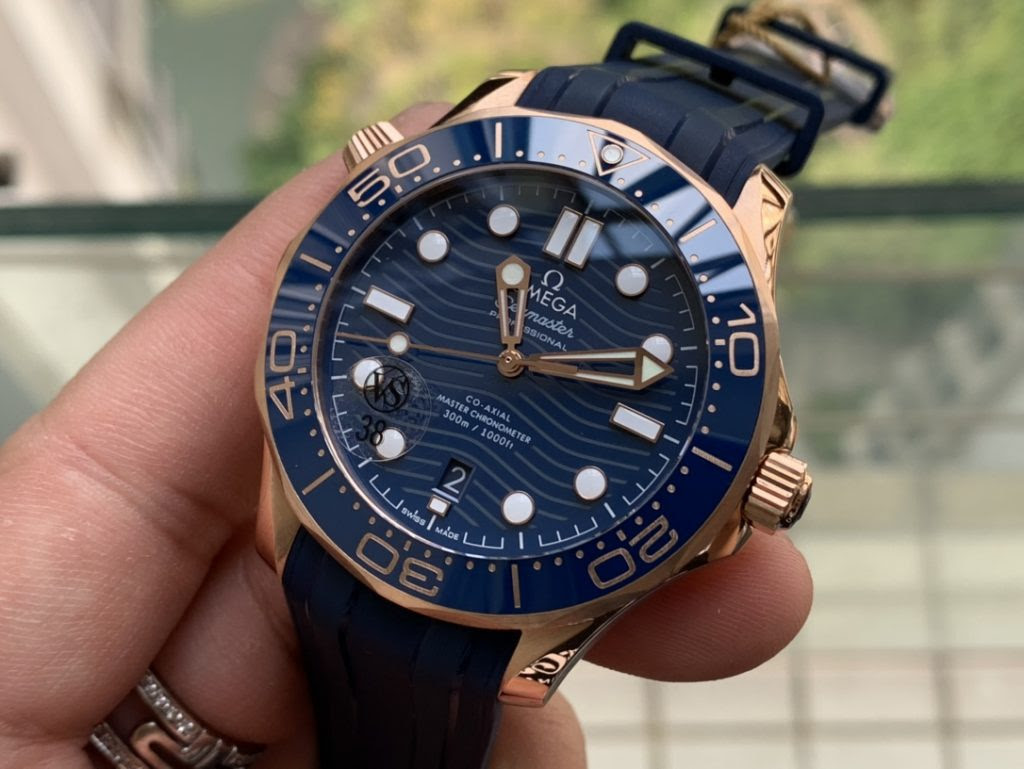 Replica Omega Seamaster Rose Gold Blue