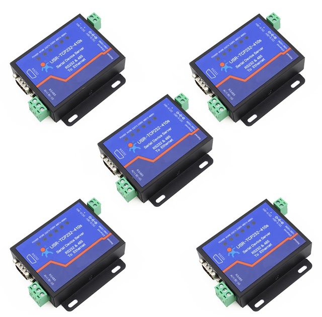 3Pcs  USR-TCP232-410S Terminal Power Supply RS232 RS485 to TCP//IP Converter