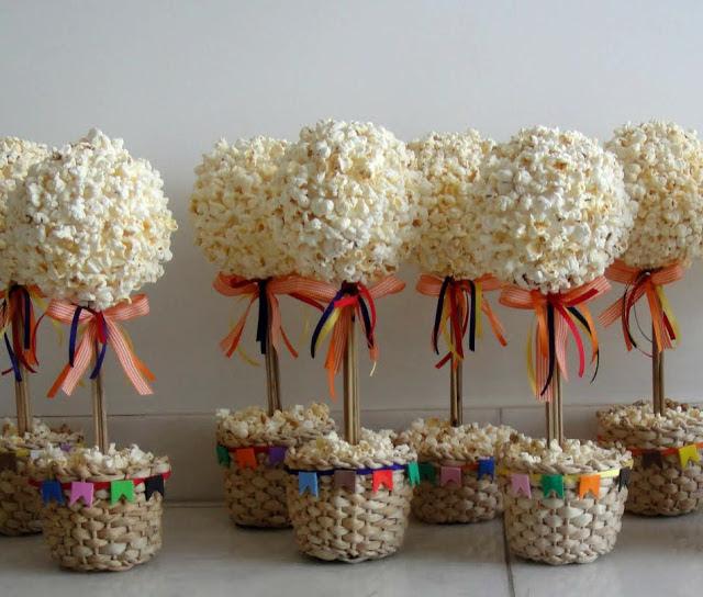 10 ideias decoracao festa junina anivesario festinha escola em casa topiaria mini arvore de pipoca(3)