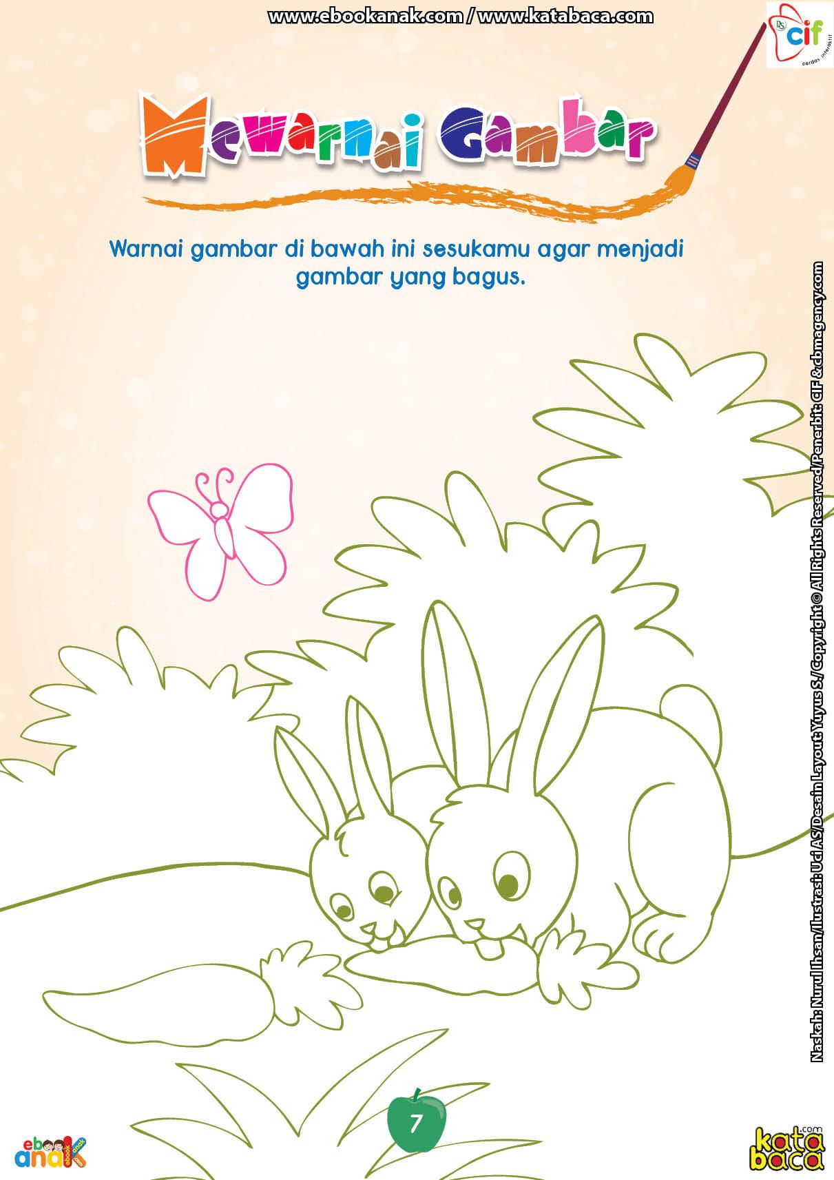 Mewarnai Gambar Dua Ekor Kelinci Yang Sedang Makan Wortel Ebook Anak