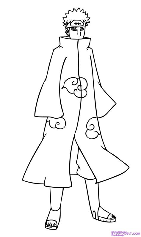 draw pain step  step naruto characters anime