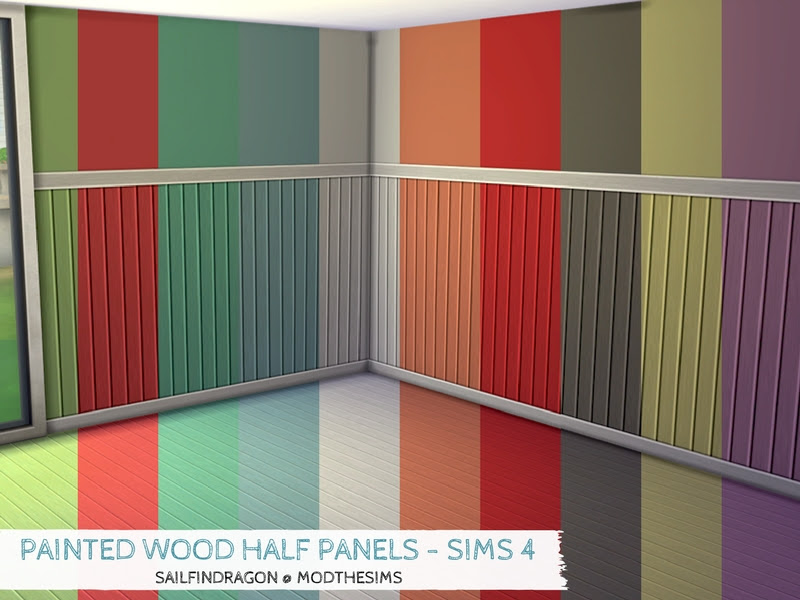 Mod The Sims Painted Wood Half Panel Walls