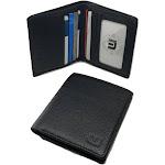 Bifold Pebble Leather Wallet with RFID Blocking in Dark Brown Black