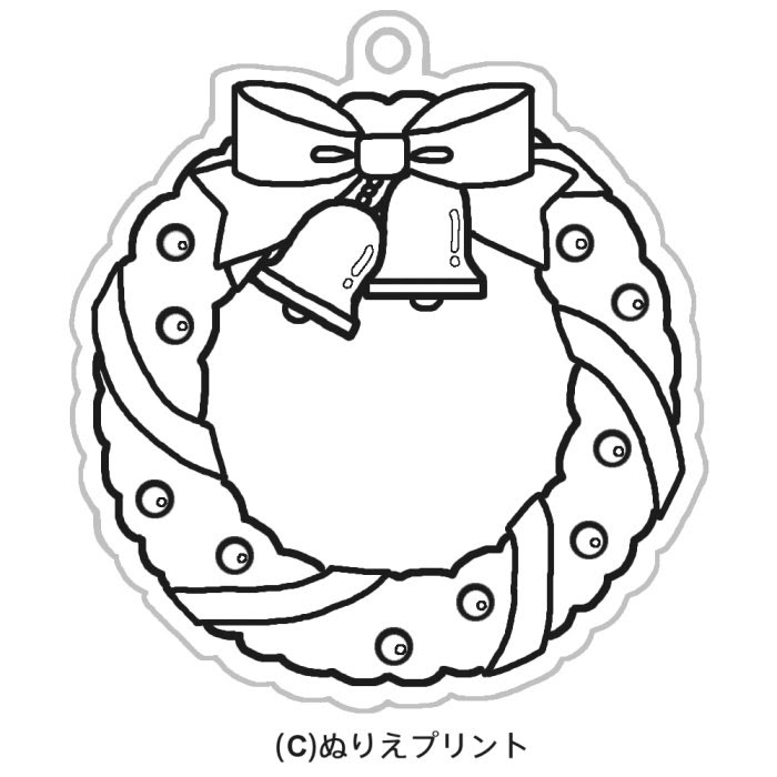 リース2黒クリスマス飾りオーナメントのぬりえイラストぬりえプリント