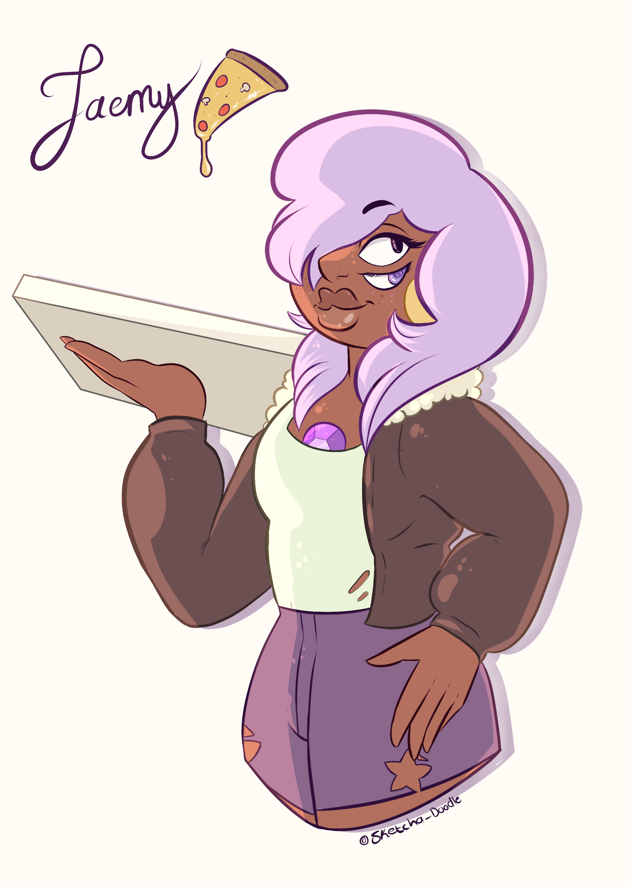 🍕 Jaemy 🍕 Part two of the Week of Human Fusions! They consist of Jenny Pizza and Amethyst. Mental note, do not leave them alone with your food.
