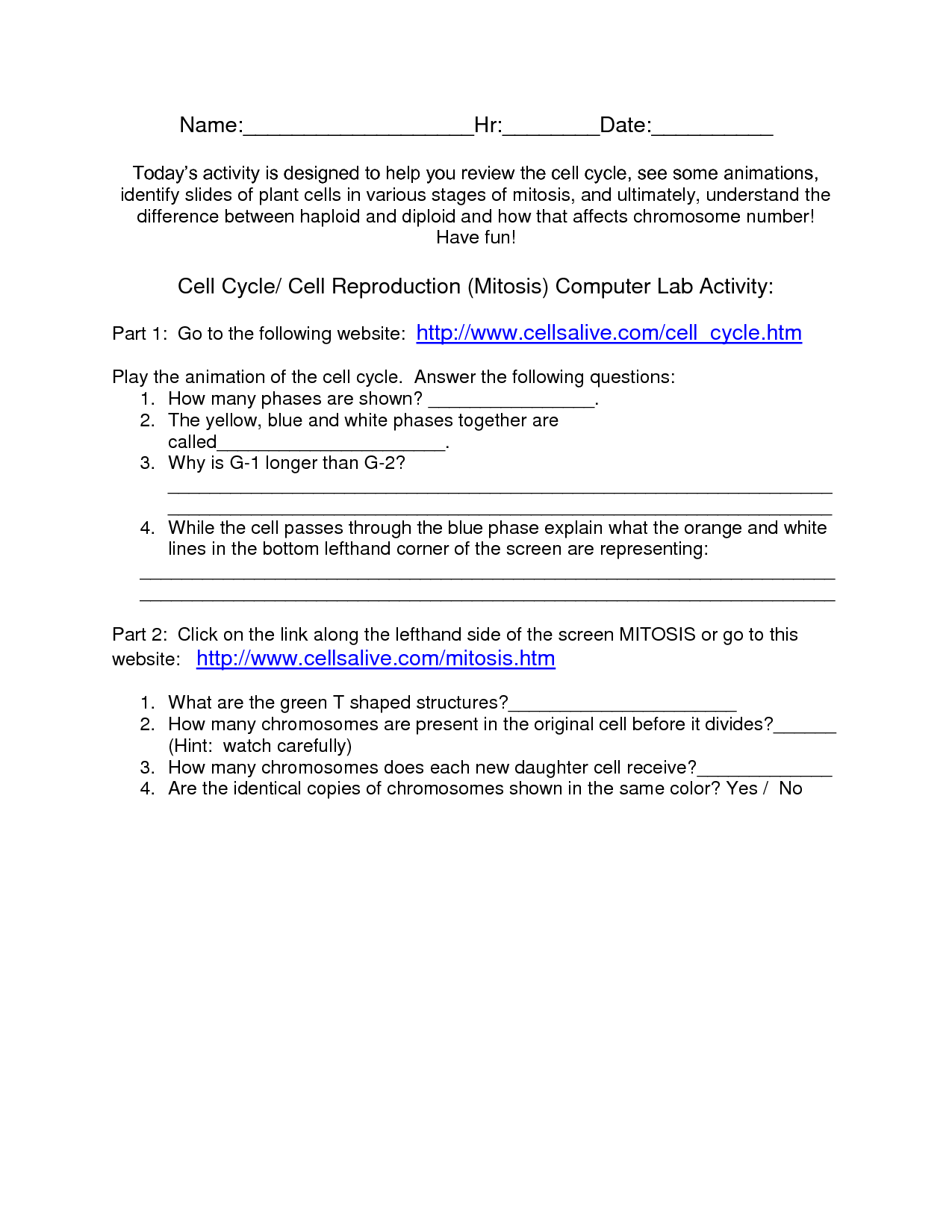 31 Cell Cycle And Mitosis Worksheet Worksheet Project List