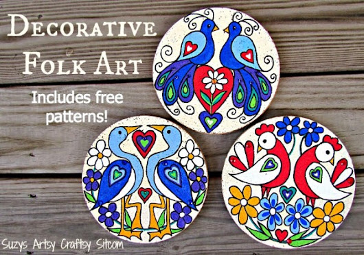 Love Birds Decorative Folk Art- with free patterns!