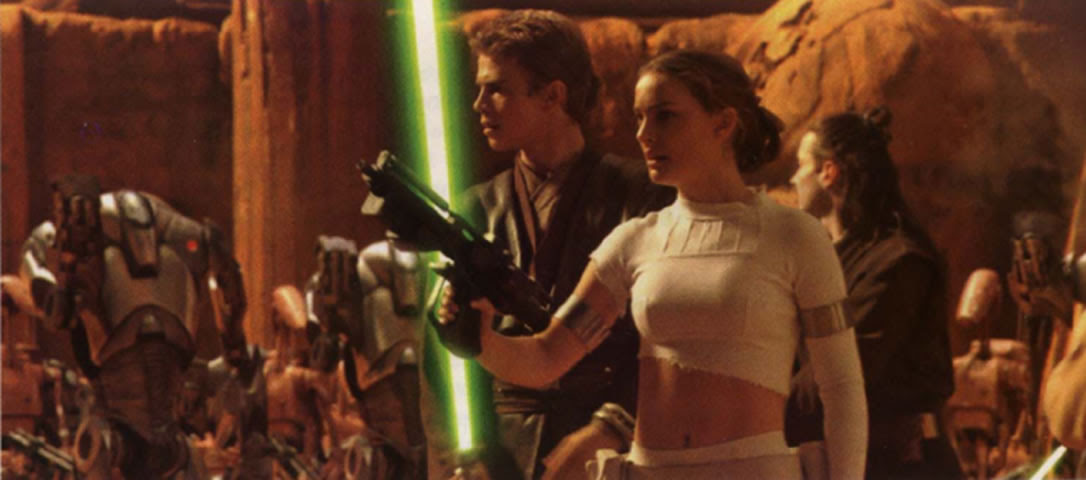 Padme And Anakin Fighting On Geonosis Star Wars Characters