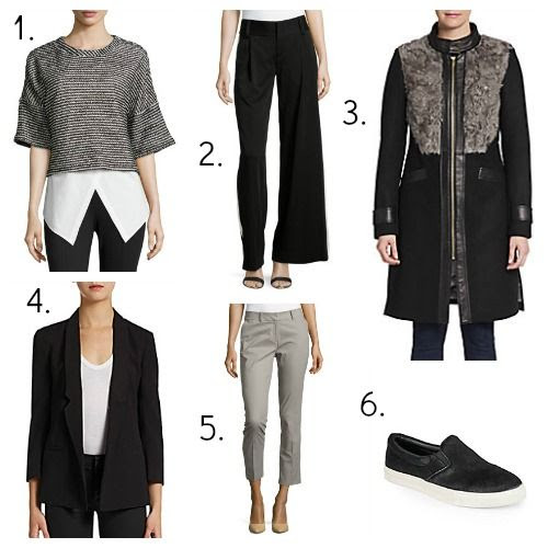 10 Crosby Derek Lam Sweater - Alice + Olivia Trousers - Badgley Mischka Coat - French Connection Blazer - Lafayette 148 New York Pants - Steve Madden Sneakers