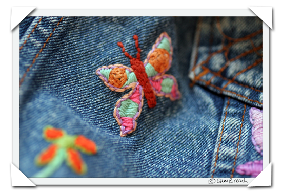 picture photograph embroidered denim jacket hippy 2007 copyright of sam breach http://becksposhnosh.blogspot.com/