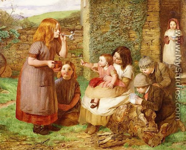 Bubbles: Cottage Scene with Children at Play - James Dawson Watson