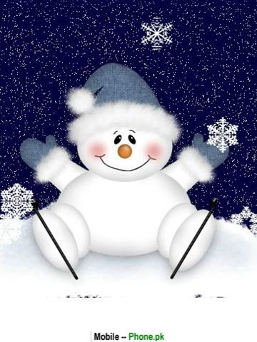 Cute snowman background Wallpaper for Mobile