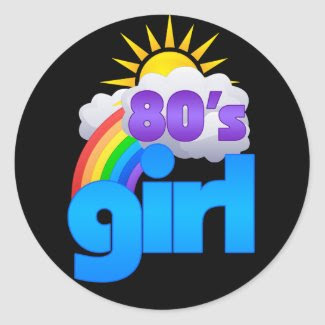 80s Girl Round Sticker