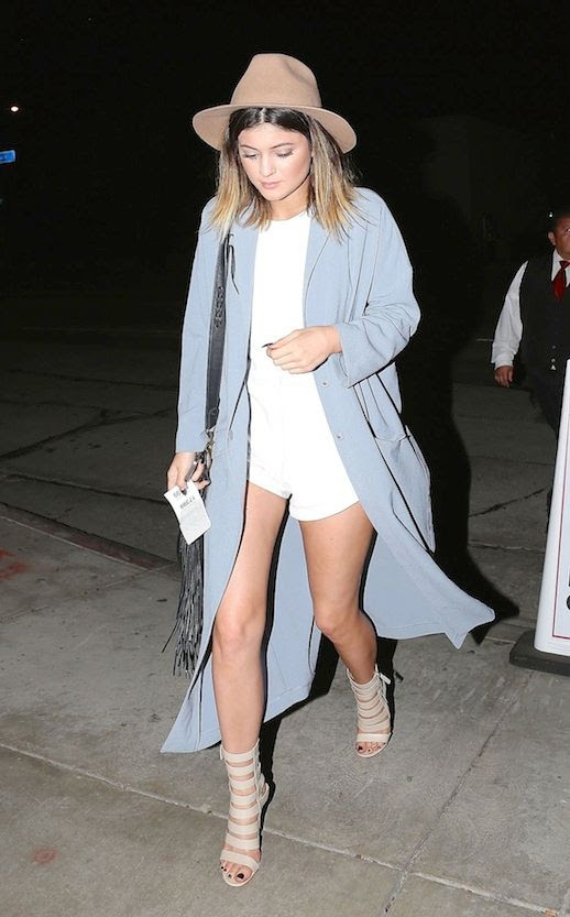 Le Fashion Blog Kylie Jenner Pastel Neutral Mix Long Coat West Hollywood 2014 Ombre Long Bob Short Hair Pointy Black Nails Manicure ASOS Light Blue Duster Coat Long Jacket One Teaspoon White Leather Jumpsuit Romper Jumper Tan Hat Black Fringe Leather Bag Gianvito Rossi Nude Strappy Leather Sandals Booties 1 photo Le-Fashion-Blog-Kylie-Jenner-Pastel-Neutral-Mix-Long-Coat-West-Hollywood-2014-1.jpeg