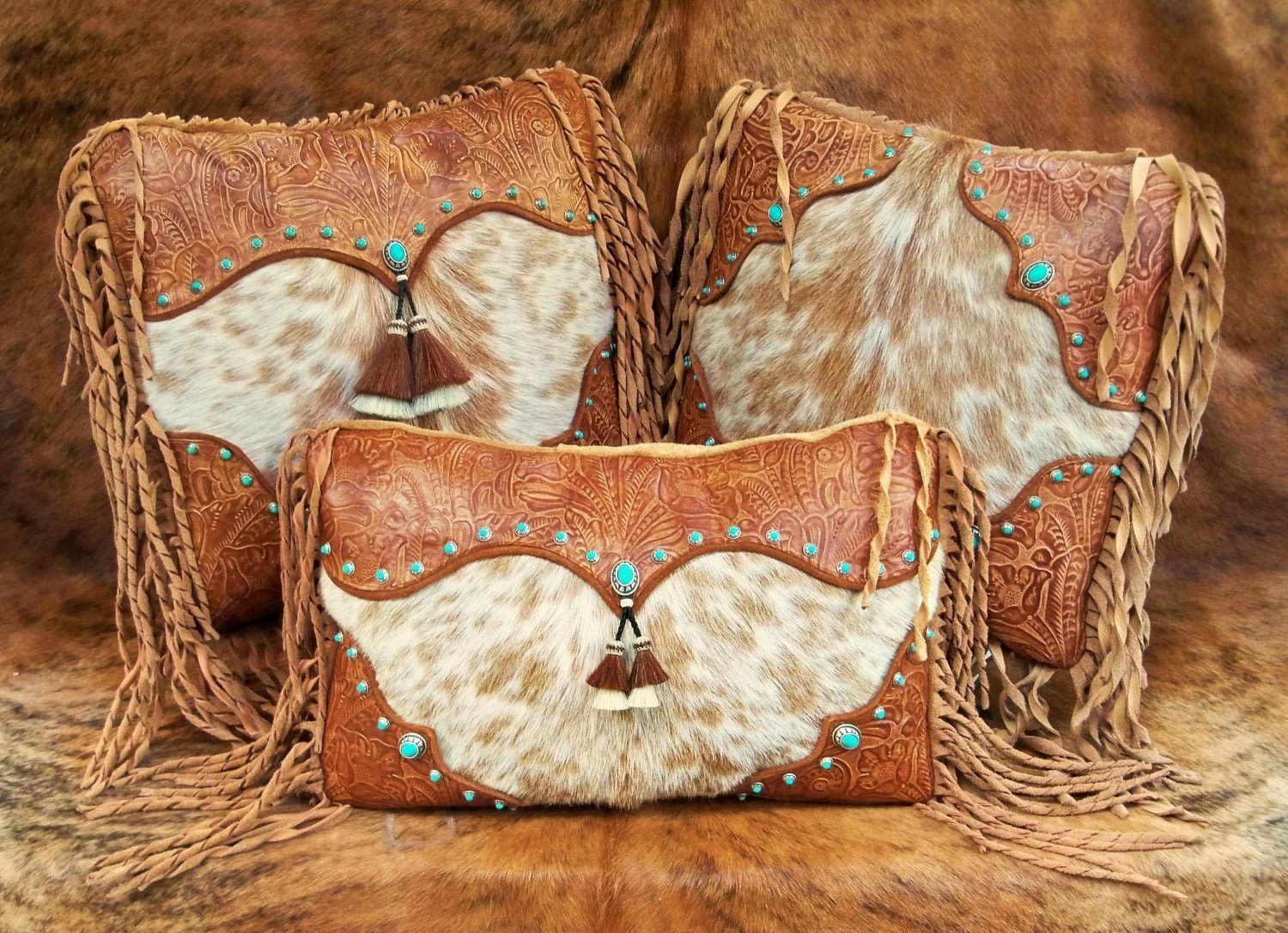 Western leather pillow fur home decor by stargazermercantile