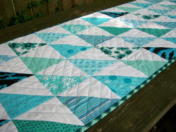 Quilted Table Runner Teal Turquoise Aqua by atthebrightspot, $68.00