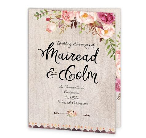 Flowering Affection Mass Booklet Cover   Loving Invitations