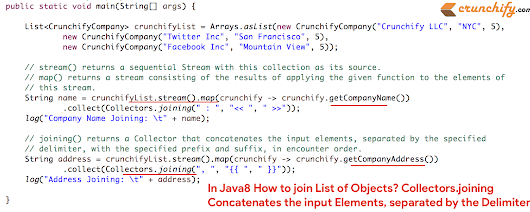 In Java8 How to join List of Objects? Collectors.joining Concatenates the input Elements, separated by the Delimiter • Crunchify