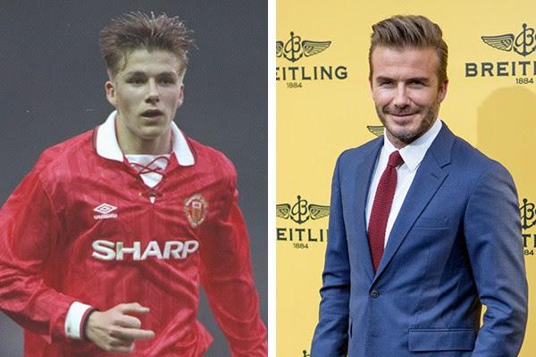David Beckham em 1993 e em 2015 (Foto: Getty Images)
