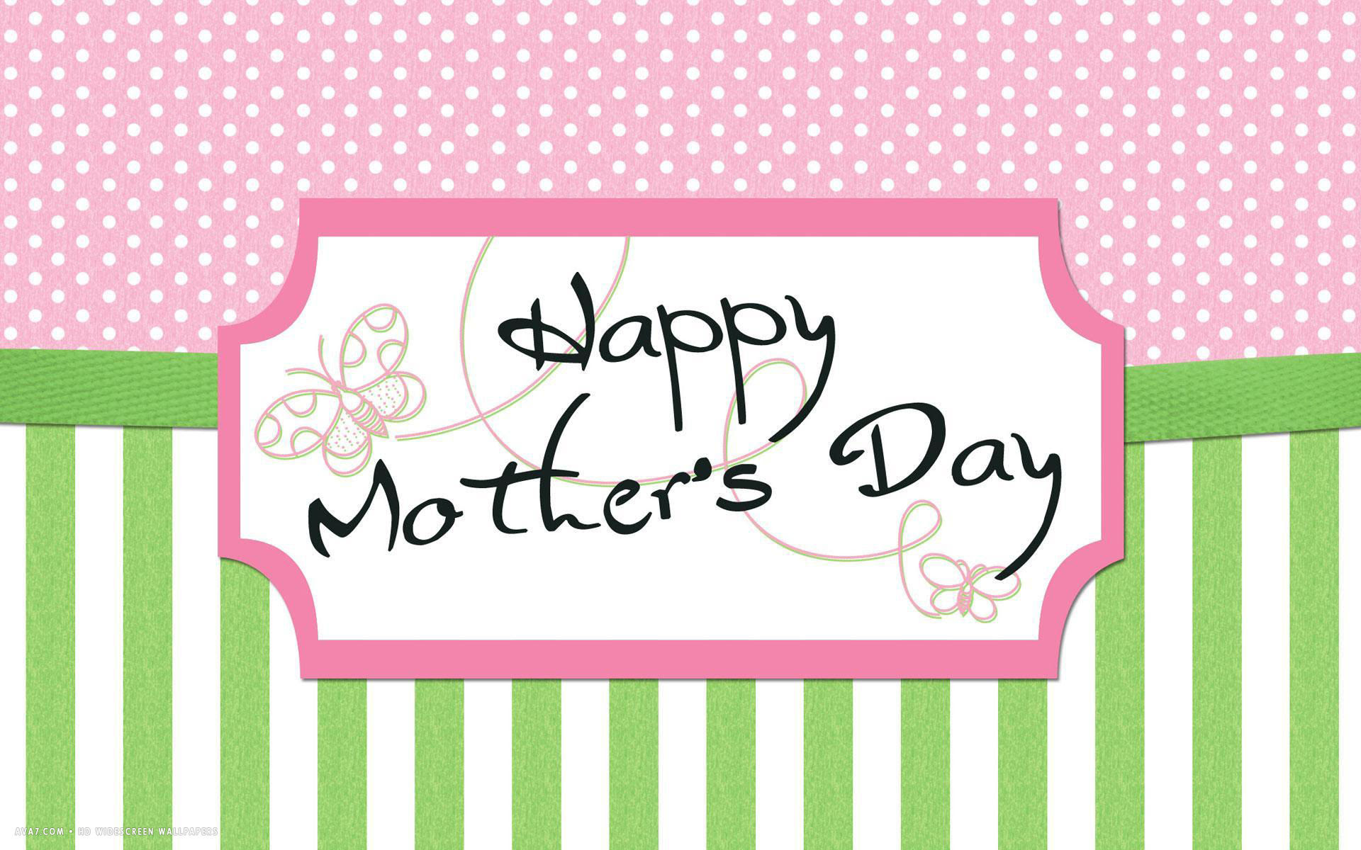 Happy Mothers Day Green Pink Dots Stripes Butterflies Vector