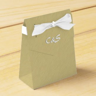 Brushed Gold Personalized Favor Boxes