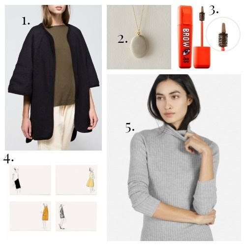 Black Crane Poncho - Parisian Locket - Chosungah 22 Makeup - Rifle Paper Co. Notecards - Everlane Turtleneck