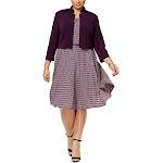 Jessica Howard Womens Jersey Shrug Sweater, Purple, 16W