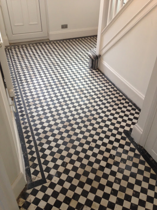 Black and White Patterned Victorian Tiles Restored in Newport | Monmouthshire Tile Doctor
