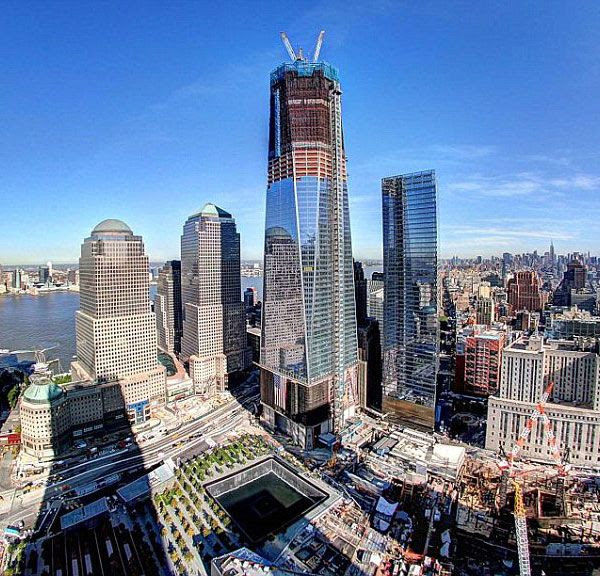 Construction continues on the 1 World Trade Center in New York City.